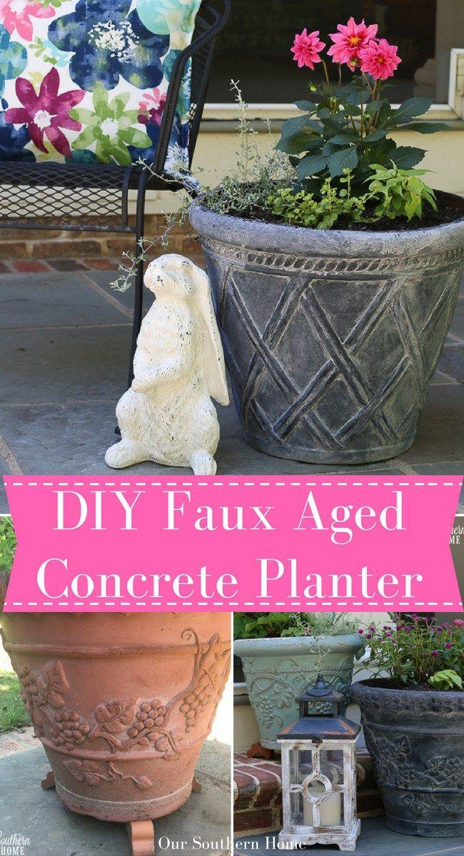 Garden Décor. DIY Faux Aged Concrete Planters