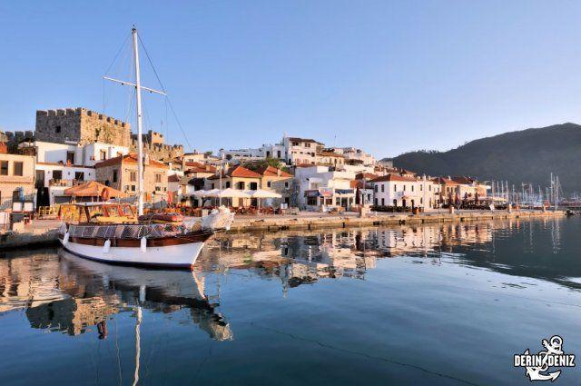 The beautiful mediterranean port city of Marmaris in Turkey at dawn, Marmaris port city - Places to visit - Antalya, Aperlae, Bodrum, Dalyan, Datça, Demre, Fethiye, Finike, Gokova, Kaunos, Knidos-Cnidus, Loryma, Lydia, Marmaris, Myra, Oludeniz, Olympos, Saklikent, Sedir Island, Telmessos, Termessos, Tlos, Xanthos,
