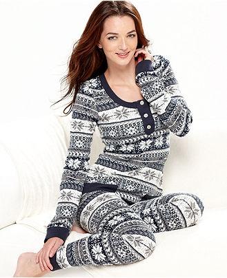 Tommy Hilfiger, Thermal Top and Pajama Pants Set - Womens PAJAMAS & ROBES - Macy's