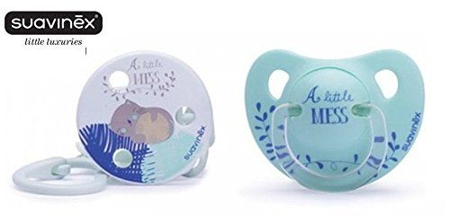 """SUAVINEX """"LITTLE LUXURIES"""" Nr. 3157184 - 1x Pacifier Soother Dummy + Soother Chain Anatomical Latex Teat/ LIGHT GREEN (6m+)"""