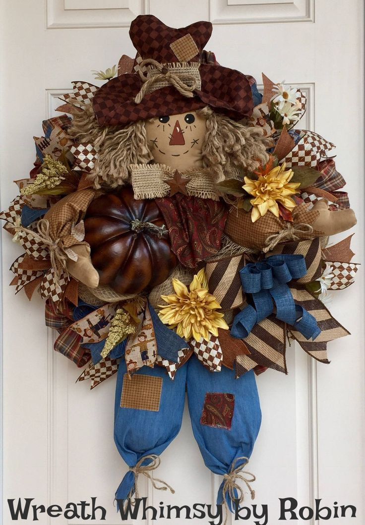 Fall Burlap Mesh Scarecrow Wreath, Front Door Wreath, Autumn Wreath, Fall Decor, Primitive Scarecrow, Rustic Fall Wreath by WreathWhimsybyRobin on Etsy