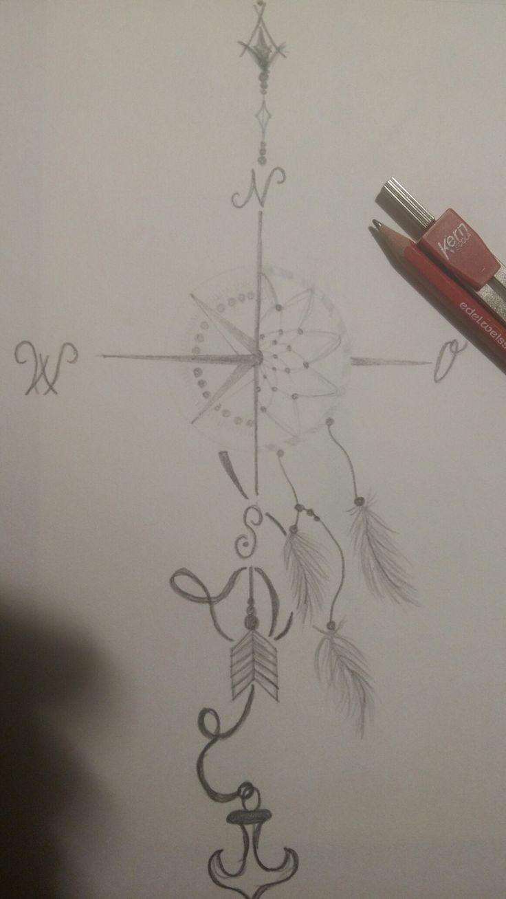 Kompass/ Anker/ Traumfänger/ Pfeil