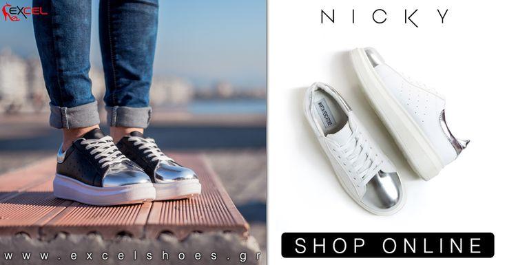 Δίπατα γυναικεία παπούτσια με ασημί λεπτομέρειες σε δύο χρώματα!