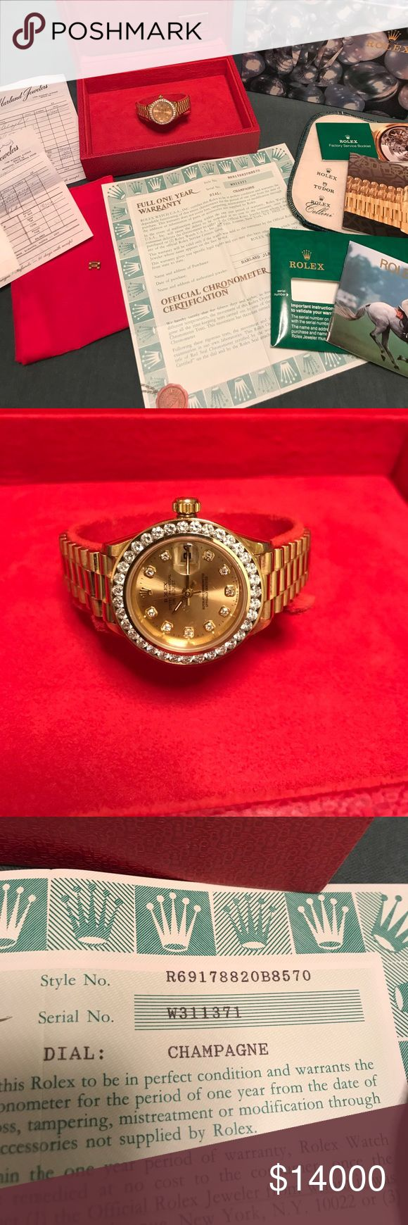 ROLEX Diamond Gold WATCH w recpt, paperwork & box ROLEX Diamond Datejust Gold WATCH w receipts, paperwork & box. In 1996 this was purchased brand new for my grandmother for $13,250 and a 32/1.50 diamond ct bezel for $4295. It is excellent condition. It is engraved on the back but this can be removed by a jewelers (I just can't do it). Total cost $17,545. 18kt gold. Rolex Jewelry