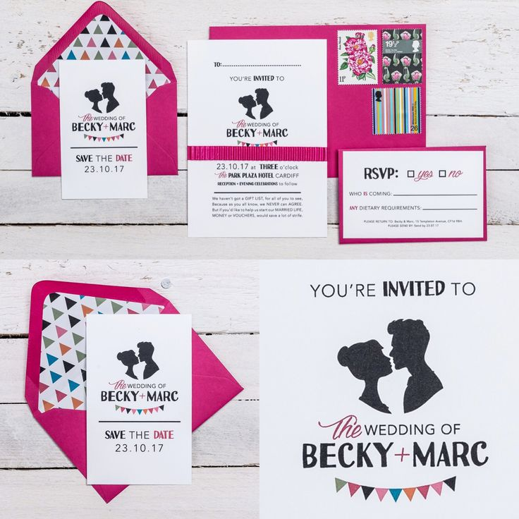 DANCE HALL DARLING Wedding stationery collection! Available in ANY COLOUR!  Featuring a classic couple silhouette, bunting trim with quirky font construction. The best part… the silhouettes can be personalised for you and your partner!   If you have any questions or to find out about the available products in this collection and their prices, please visit the website.