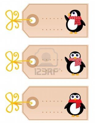 Retro christmas tags with Penguins. Vector cartoon Illustration