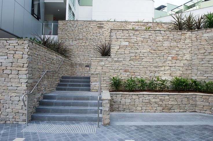 It has five split sides and the back of each piece is sawn to a flat finish, which allows Dusky to be fixed to appropriate substrates.  #granitecladding #outdoorlife #cladding #sydneybuider #stonecladding #featurewall #outdoorenvirenment #cappingstone