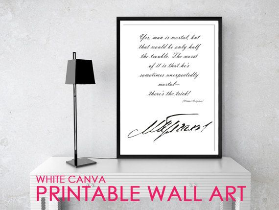 MAN IS MORTAL 2 Bulgakov Quote Posters Printable by WhiteCanva