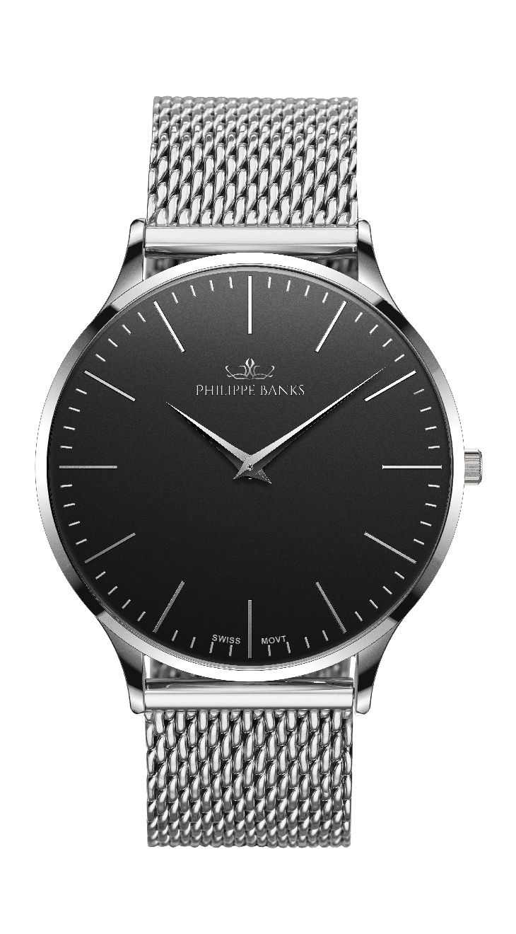 Slimline 40 - Stainless | Black Dial with Stainless Mesh Strap. I love this. ❤️❤️❤️