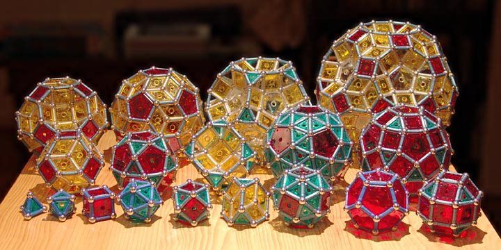 GEOMAG constructions: Platonic and Archimedean solids