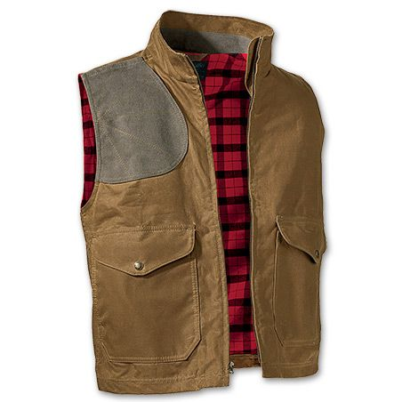 www.Filson.com   Filson Oil Finish Shelter Cloth Eastlake Waxed Vest - A functional vest with waxed weather protection