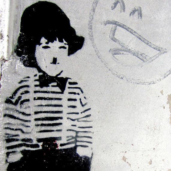 Charlie Chaplin stencil street art, photo by  makelifeparadise.etsy.com