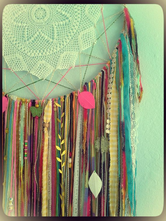 Crazy Colorful Rainbow Dreamcatcher w/ Doily, Feathers, Pretty Charms on a 19 inch Hoop. Ready To Ship!