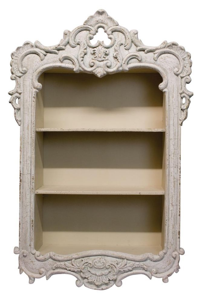 Beautiful Shabby Chic Off White French Style Wall Storage Unit / Shelf... Cut hole in wall between the drywall, add shelves and cover with funky frame, keep remotes, klenex, box with floss, matches, batteries and chargers