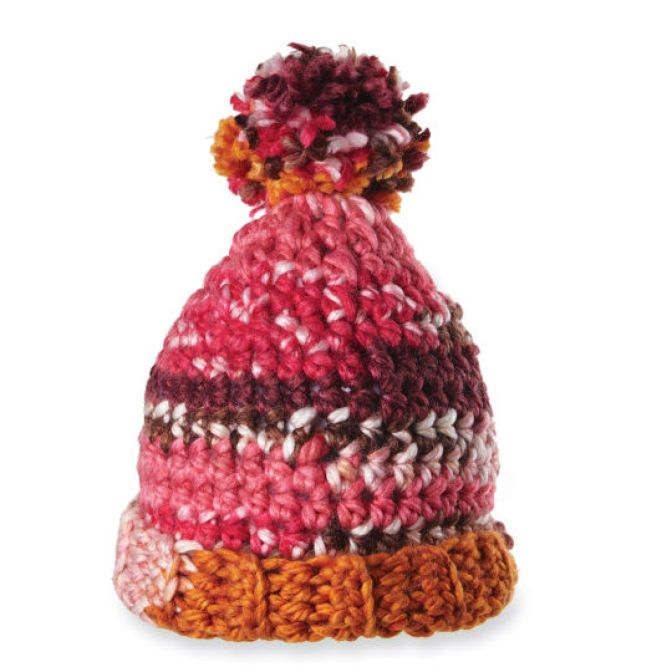 DIY Crocheted Isaac Mizrahi Craft Lexington Pom Pom Hat. Keep cozy in this colorful hat.