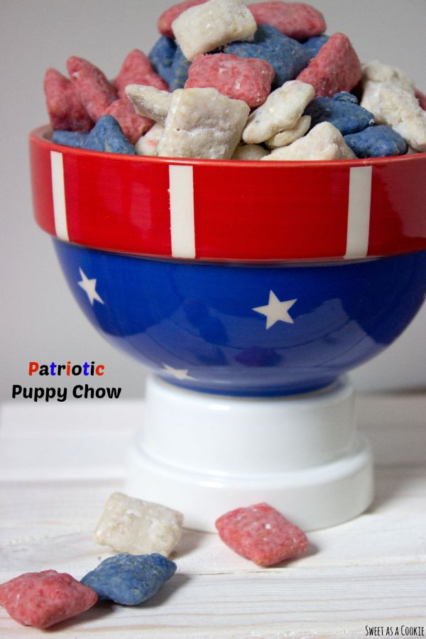 Patriotic Puppy Chow by sweetasacookie.com | There's nothing more American than red, white and blue. This puppy chow screams 4th of july and tastes like vanilla and strawberries. In my opinion there's nothing better.