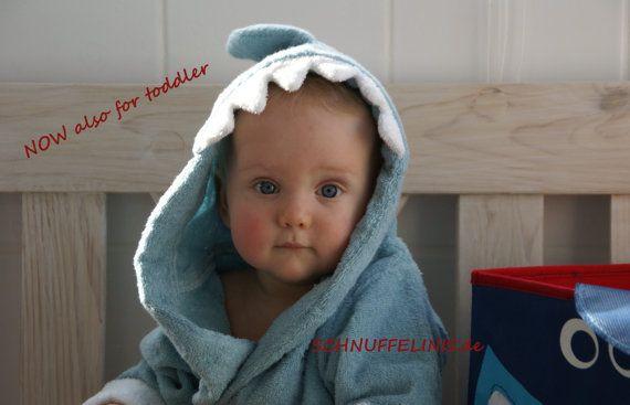 Bademantel Kleinkind toddlers toddler Shark bath von Schnuffelinis