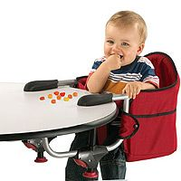 The Chicco Caddy Hook-On - Red is the perfect travel high chair to fit your busy lifestyle. The Hook-On folds compactly and will fit any tabletop with a table skirt up to 6 inches thick