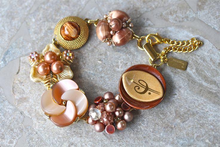 Bridesmaid Gift, Vintage Earring Bracelet, Upcycled, Cluster, Cinnamon, Copper, Gold, Flower, Jennifer Jones, Under 40, OOAK - Spice Girl by JenniferJonesJewelry on Etsy