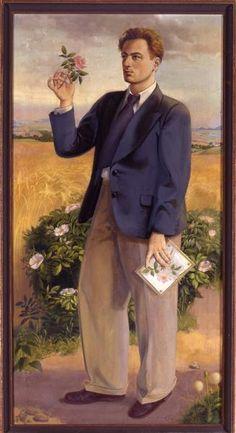 Selbstbildnis mit Heckenrose , 1930 by Wilhelm Dodel (1892-1966)