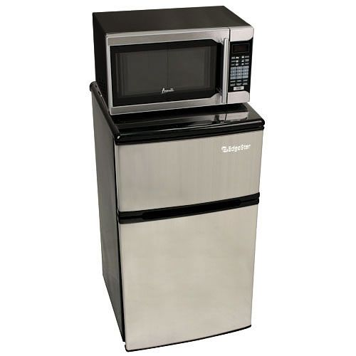 The EdgeStar microwave fridge combo is a 3-in-1 unit featuring a mini fridge with separate freezer and a microwave to be mounted on top. It's the perfect dorm mini fridge.
