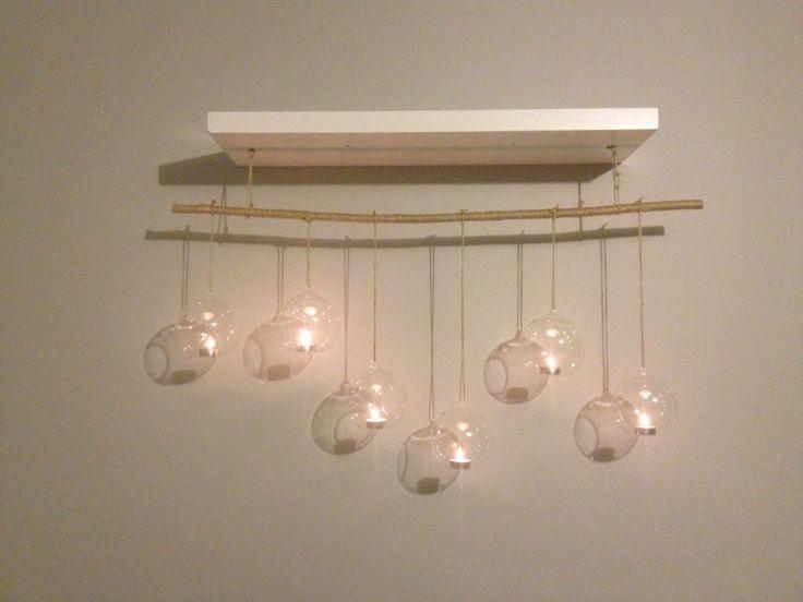 Diy dual pupose shelf hanging tea light holder art for Diy hanging tea light candle holders