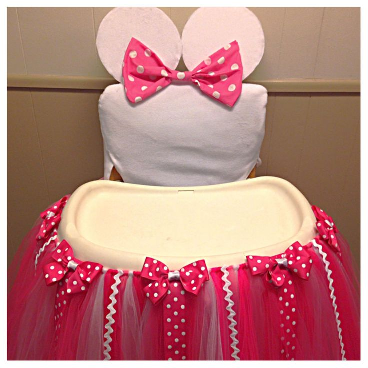 Minnie Mouse High Chair Tutu, Tutu for High Chair, First Birthday High Chair Tutu, High Chair Decoration, Cake Smash, Photo Prop, by FreckledStrawberrie on Etsy https://www.etsy.com/listing/214534542/minnie-mouse-high-chair-tutu-tutu-for