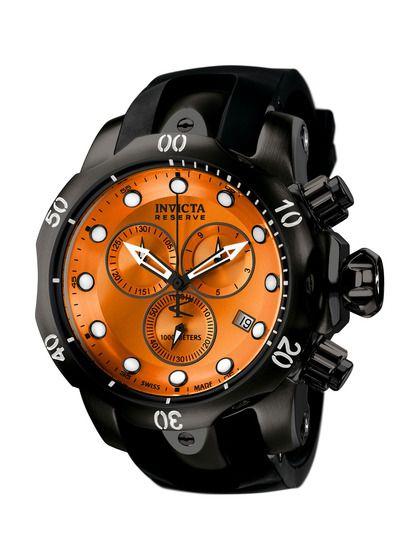 Men's Venom Round Black & Orange Watch by Invicta Watches