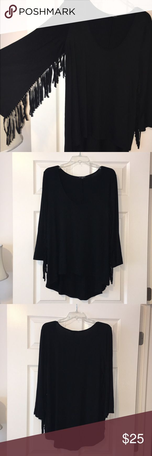 Black high low top with fringe on sleeves | Fashion design ...