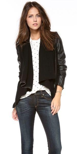 Blank Vegan Leather & Ponte Jacket - women's fashion / clothing / apparel / black