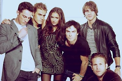 Cast of vampire diaries. Tyler, Stefan, Elena, Damon, Jeremy, and Alaric.