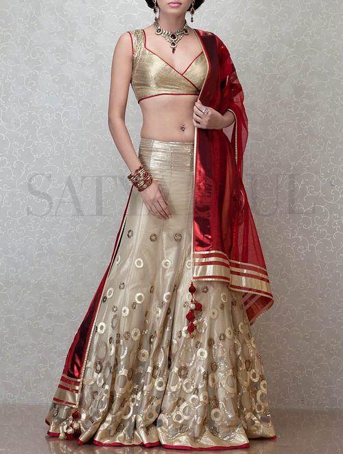 indian wedding lehenga, gold and red lehenga