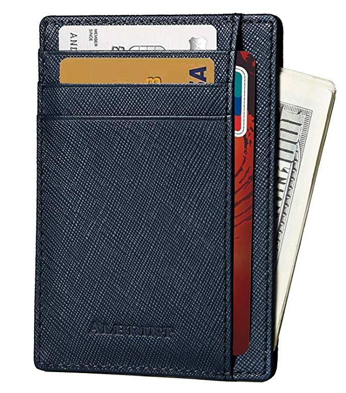 Passport Holder RFID Blocking Wallets Leather Credit Card Front Pocket Wallet With ID Window Minimalist