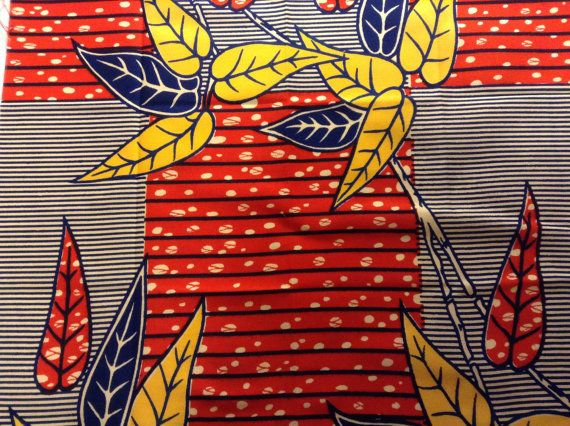 African fabric fat quarter red white blue with leaves fat quarters pre cut fabric via Etsy