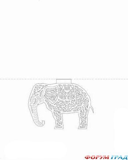 Шаблон ажурного слона из бумаги