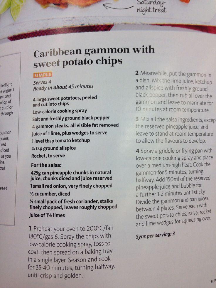 Caribbean gammon and sweet potato chips