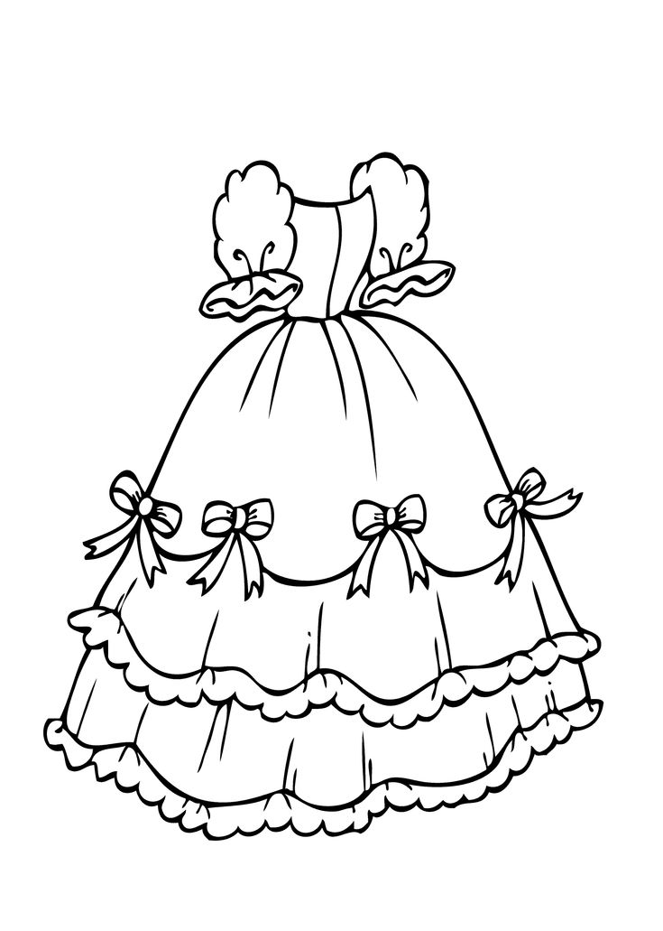 Dress with bows coloring page for girls, printable free ...