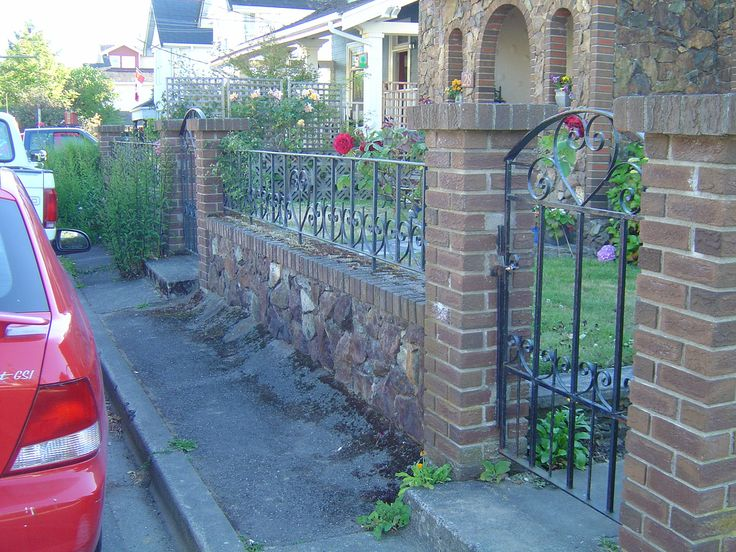 17 best images about brick fences on pinterest jasmine for Brick and wrought iron fence designs