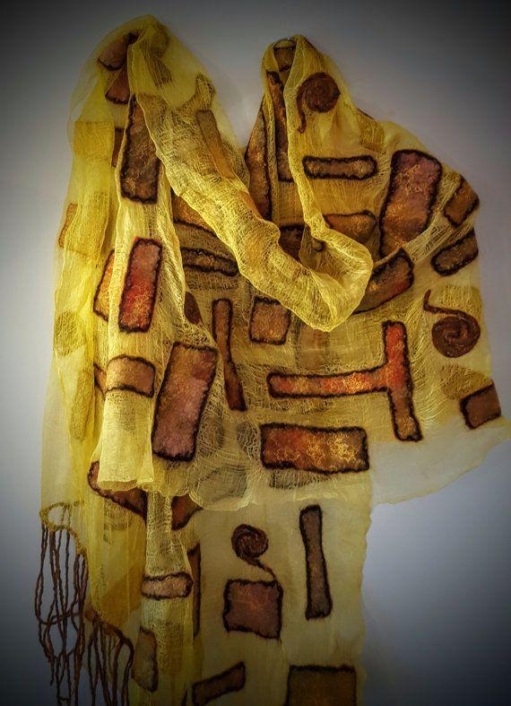 Nuno Felted Scarf, Silk and Merino Wool Scarf, Yellow Felted Scarf, Gustav Klimt Felted Yellow Scarf, Very Light Scarf, GUSTAV KLIMT