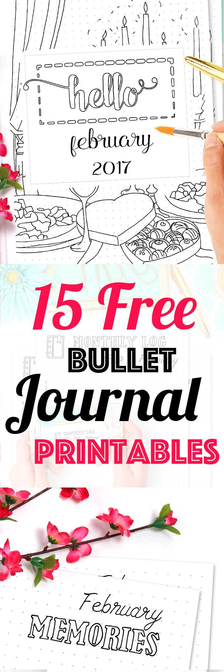 15 Pages Strong Free Bullet Journal Printables Kit • February 2017. Including Habit Tracker, February Memories, Monthly Log and many more beautiful pages. // by Wundertastisch Design