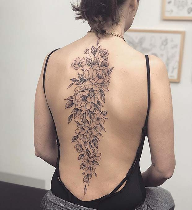 Big Peony Back Tattoo Floral Back Tattoos Spine Tattoos For Women Back Tattoo Women