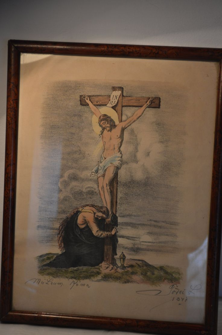 Vintage framed picture of Jesus Christ on the Cross, 1947 Rome , drawing of Jesus Christ, by KrisztinaVintage on Etsy
