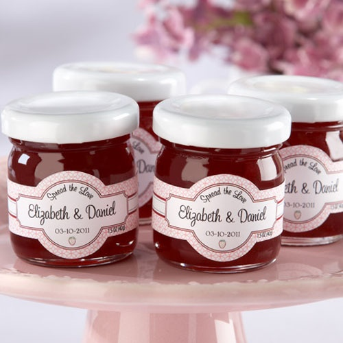 Personalized Mini Strawberry Jam Favors by Beau-coup?...they say spread the love!  I could get my nanny to make different flavors!!!