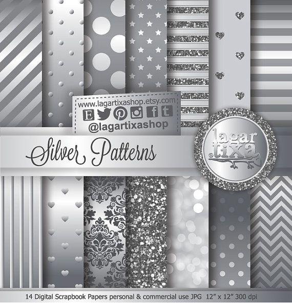 Argento Carta Digitale Chevron polka dots Damask Bokeh glitter metallico Sfondo per Blog Inviti Scrapbooking