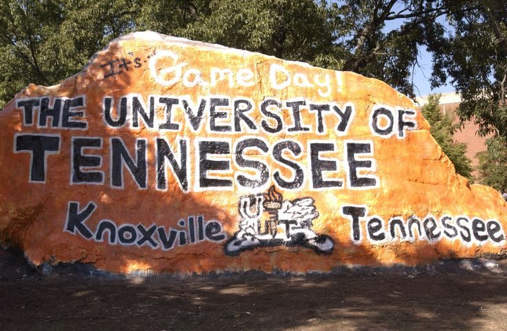 'the rock' at UT, students change messages and paint murals on this rock, encouraging community spirit and just plain awesomeness.