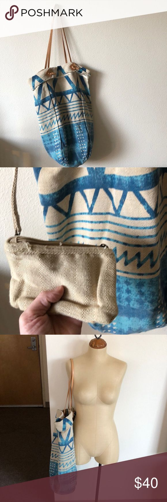 Free People Aztec bucket bag Free People linen bucket bag with bright blue Aztec print and leather straps. Features a small coin purse attached as well. Brand new without tags. Great condition! Free People Bags Shoulder Bags