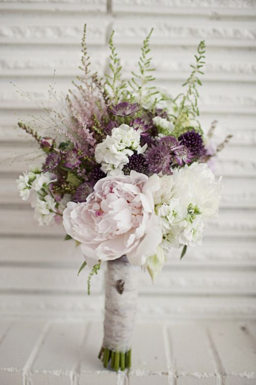 rustic bouquet with peonies and lavender