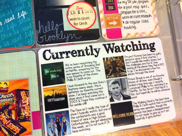 I love the Currently Watching Card - thinking card at end if year with favourite film, book, tv show and song of the year