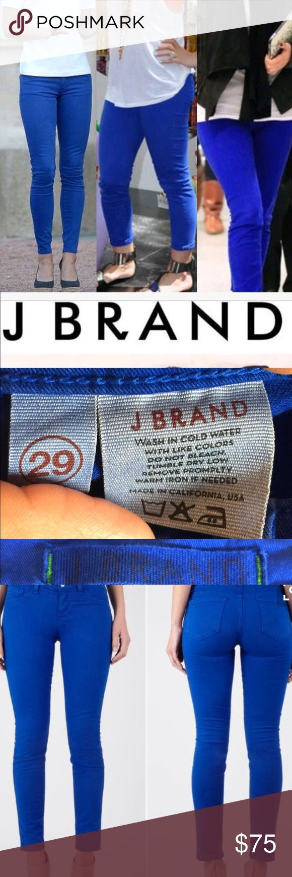 J Brand skinny jeans J Brand skinny jeans 👖 in royal blue color EUC never been washed size  29 sold out everywhere. Beautiful rich royal blue color more pics and description coming soon (Shop and feel good about it 😁. Part of the money u spend goes to Purple Heart Foundation 💜) J Brand Jeans Skinny