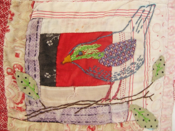 This artist uses old textiles & upcycles them with added embroidery(Mandy Pattullo)
